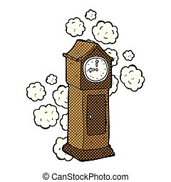 comic cartoon dusty old grandfather clock - retro comic book...