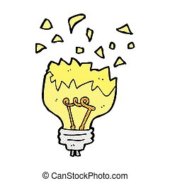 comic cartoon light bulb exploding - retro comic book style...