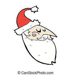 comic cartoon santa face - retro comic book style cartoon...