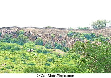 massive Chittorgarh Fort and grounds rajasthan india -...