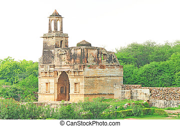 ruins in massive Chittorgarh Fort and grounds rajasthan...