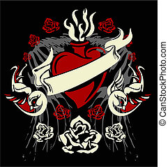 vintage heart wing rose and bird element
