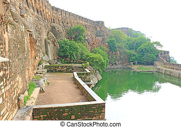 stepwell in massive Chittorgarh Fort and grounds rajasthan...