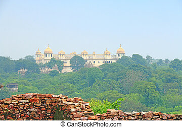 palace in massive Chittorgarh Fort and grounds rajasthan...