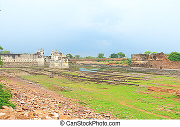 lake palace in massive Chittorgarh Fort and grounds...