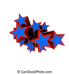 stars - 3d rendered illustration of red and blue stars