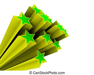 stars - 3d rendered illustration of green and yellow stars