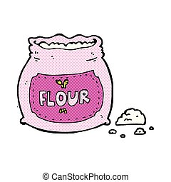 comic cartoon pink bag of flour - retro comic book style...