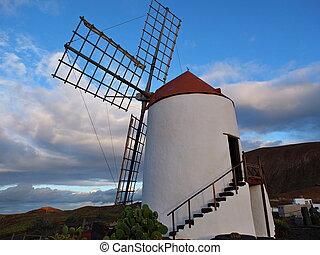 Windmühle, Lanzarote, kanarienvogel, Inseln,