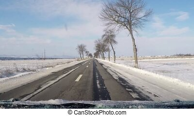 Winter road - Driving in the winter, asphalt road