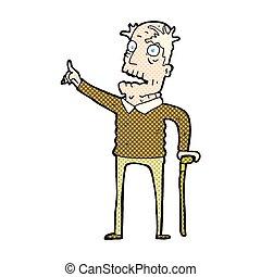 comic cartoon old man with walking stick - retro comic book...