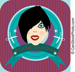 Hair salon - Label of hair salon with young smiling woman
