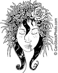 flowers in hair - female face with flowers in hair black and...