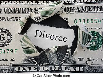 Divorce rip - Hole ripped in a dollar bill with Divorce text...