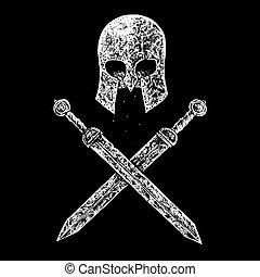 gladiador, capacete, e, espadas,
