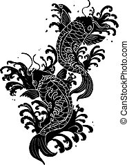 koi fish tattoo - traditional koi fish tattoo black and...