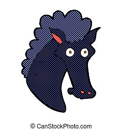 comic cartoon horse head - retro comic book style cartoon...