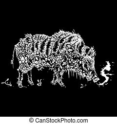 winter boar black and white illustration
