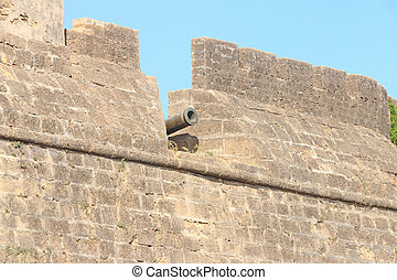 beautifully maintained fort diu gujarat india - cannon seen...