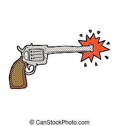 comic cartoon firing gun - retro comic book style cartoon...