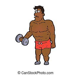 comic cartoon man lifting weights