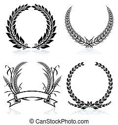 Laurel Wreaths pattern design, vector