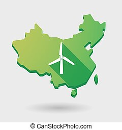 China map icon with a wind generator - Illustration of a...