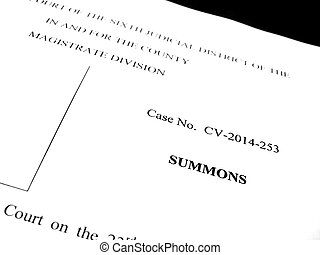 Legal Papers Lawsuit Notice Summons - Detail of legal papers...