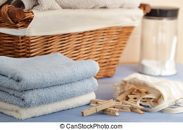 Washing still life - Clothespins in the bag, towels, laundry...