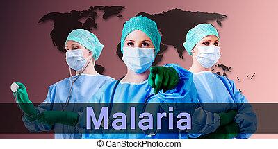 Malaria, médico, doctor, hembra,