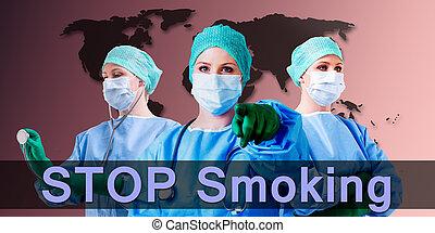 Stop Smoking Doctor - Stop smoking slogan, female medical...
