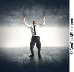 Anxiety businessman - A businessman trapped by anxiety and...
