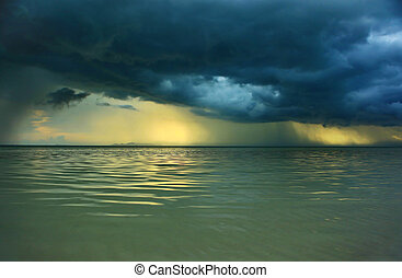 Stormy Weather - A storm over the Gulf of Thailand off the...