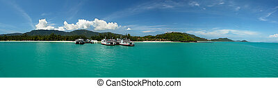 Koh Samui Ferry Port - A panorama image on the west coast of...