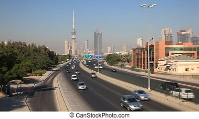 Traffic in Kuwait - Traffic on the First Ring Road - a five...