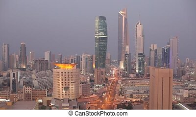 Kuwait City - igh angle view of Kuwait City illuminated at...