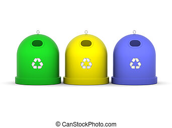 Recycle Bins - Green, yellow and blue recycle bins in a...