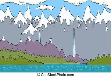 Alpine landscape - Cartoon alpine landscape with river...