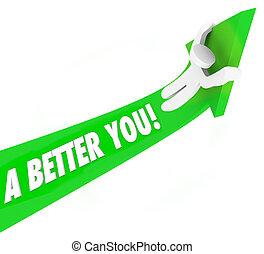 A Better You 3d Words Man Riding Green Arrow Self...