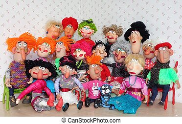 Puppet's big family - Cold porcelain clay sculpted puppets