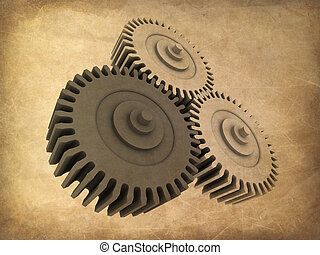 3d gears - 3d rendered illustration of some gears on a...