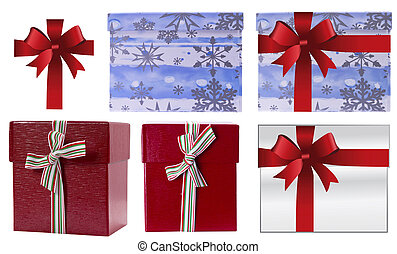 Christmas Red gift box wrapping ribbon bow