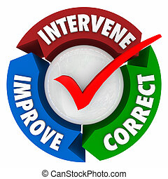 Intervene Correct Improve Words Check Mark Diagram Circle -...