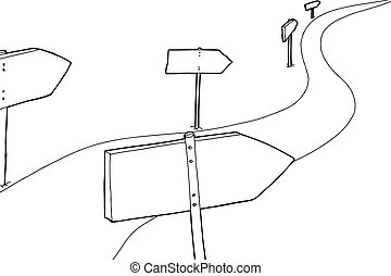 Outlined Signs Along Road - Cartoon outline of signs along...