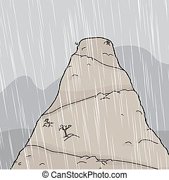 Mountain Peak in Storm