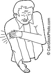 Outline Cartoon of Man in Pain