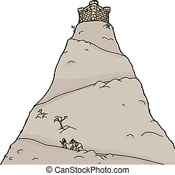 Knight Going Up Mountain - Knight going up isolated mountain...