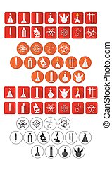 chemical laboratory icon set - vector illustration of...
