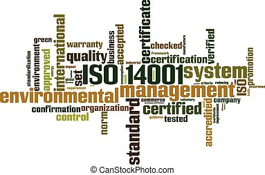 ISO 14001 word cloud concept Vector illustration