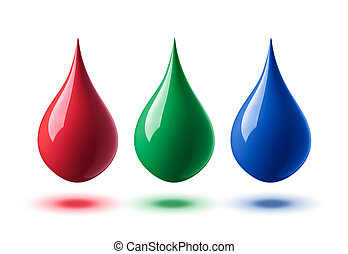 rgb droplets - drops of paint or ink in rgb colors